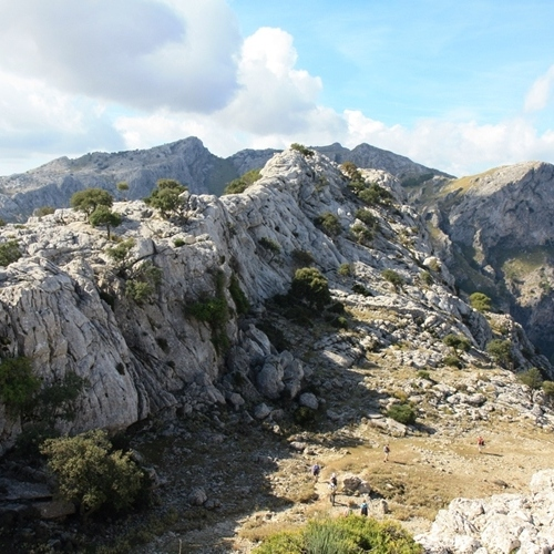 Guided walking in Mallorca - limestone ridge above Cuber