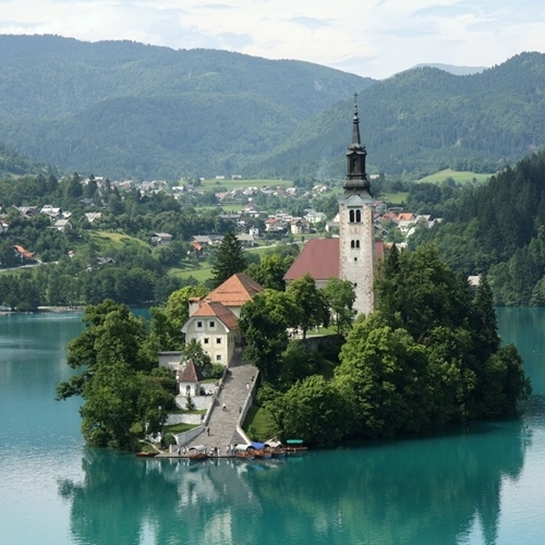 Guided walking in Slovenia-Slovenia- the church in the middle of Lake Bled